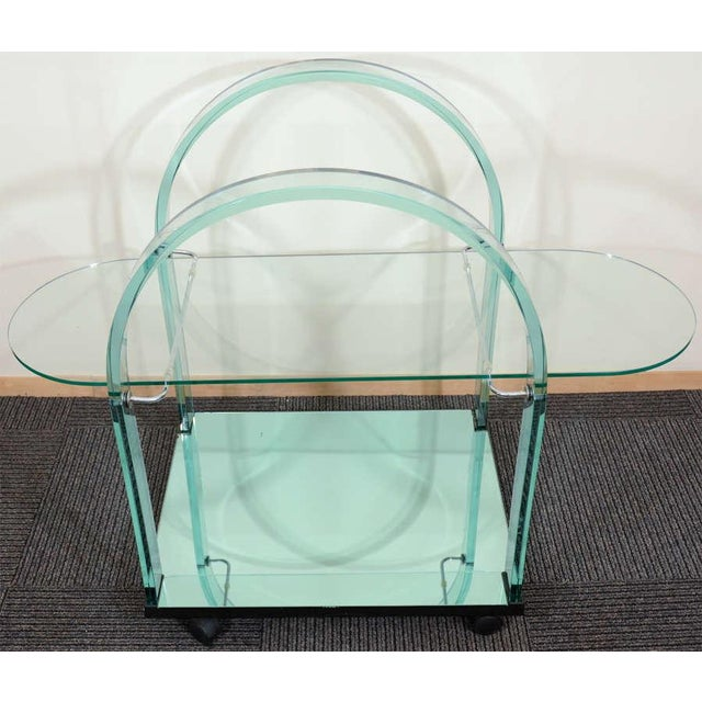 FRENCH MODERNIST GLASS AND MIRROR SERVING CART For Sale - Image 4 of 6