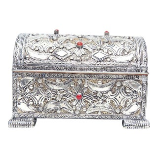 Handcrafted Silver-Coated Metal & Leather Interior Jewelry Box