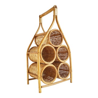 Vintage 1970's Boho Style Wicker & Cane Wine Rack For Sale