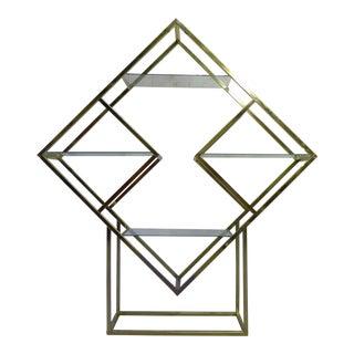 Milo Baughman styled Mid Century Brass Etagere