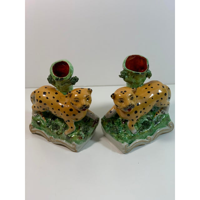 Green Vintage Staffordshire Style Leopard Spill Vases - a Pair For Sale - Image 8 of 11