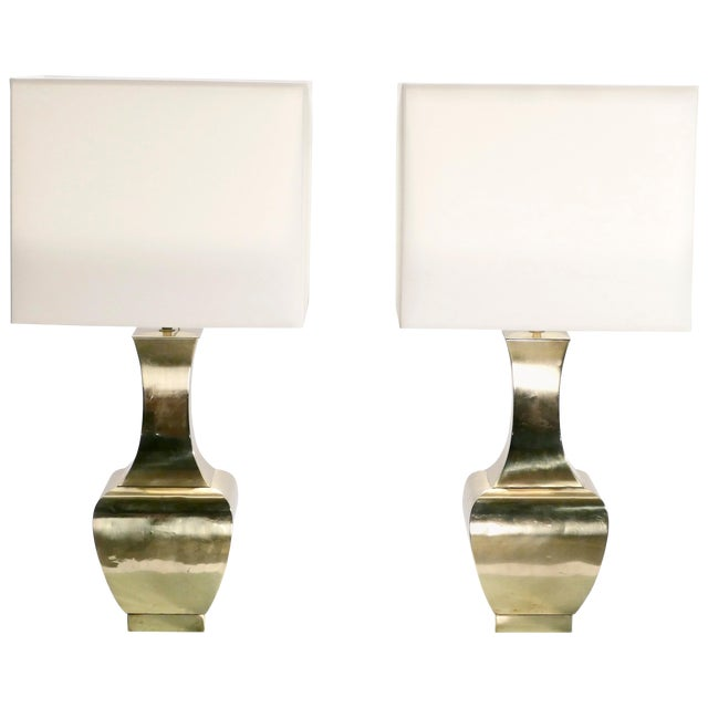 Pair of French Brass Table Lamps, 1970s For Sale