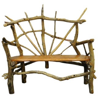 21st Century Robert Powchik Rustic Artisan Tree Log Driftwood Garden Patio Bench For Sale