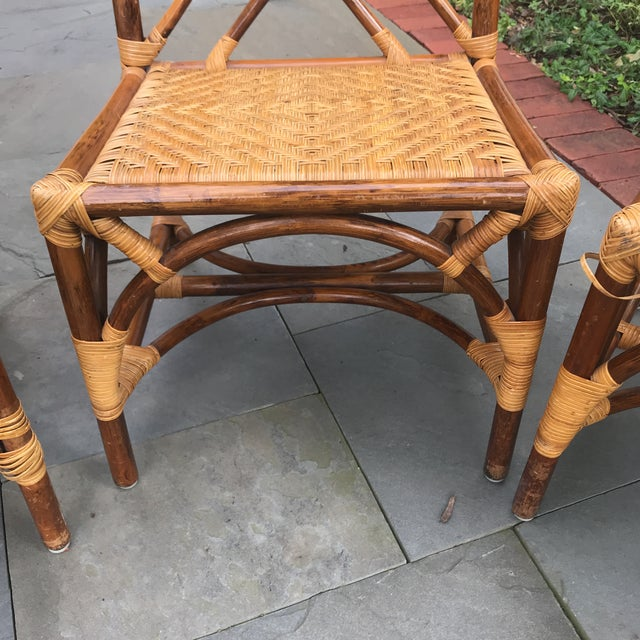 1960s Traditional Bamboo and Rattan Chairs - Set of 4 For Sale - Image 9 of 11