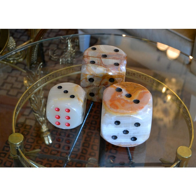 Oversized Mid-Century Modern Handcrafted Marble & Onyx Dice Sculptures - Set of 3 For Sale - Image 12 of 13