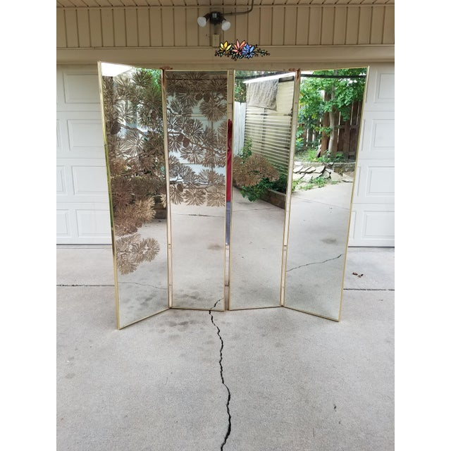 1970s Vintage Gold Etched Mirror Room Divider For Sale - Image 5 of 10