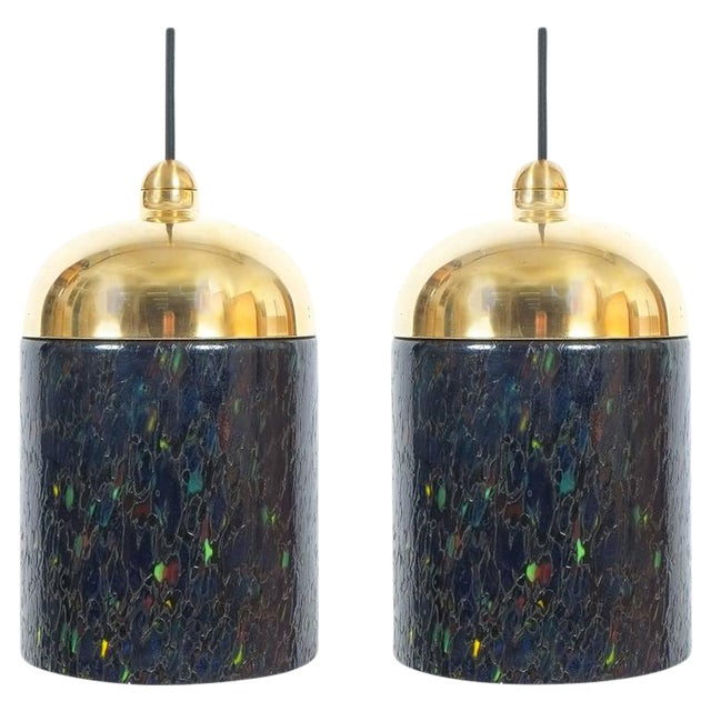Pair Murano Glass and Brass pendants, circa 1970 For Sale
