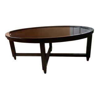 Traditional Woodbridge Furniture Oval Mahogany Coffee Table For Sale