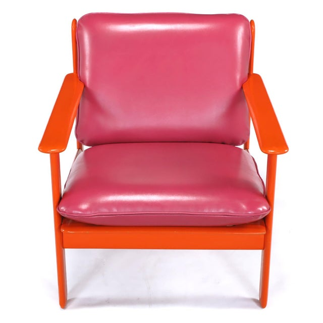 Pair of Italian Persimmon and Magenta Lounge Chairs For Sale - Image 4 of 10