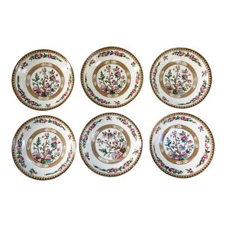 Vintage Stoke on Trent English Indian Tree Saucers - Set of 6 For Sale