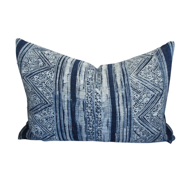 Blue Batik Print Pillow For Sale