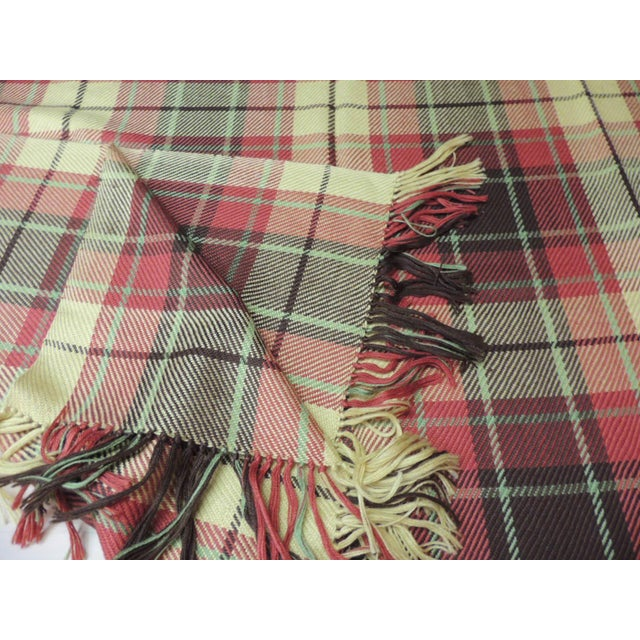 Modern Large Yellow and Red Plaid Throw With Hand-Knotted Fringes For Sale - Image 3 of 6