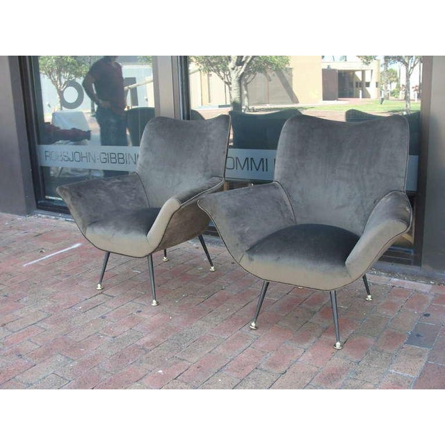 Mid-Century Modern Pair of Italian Open-Arm Chairs For Sale - Image 3 of 7