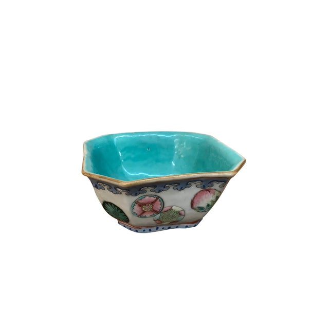 Mid 20th Century Small Chinese Export Hexagonal Bowl For Sale - Image 4 of 4