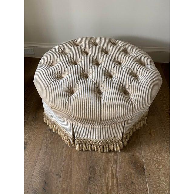 Wesley Hall Furniture Custom Tufted Upholstered Ottoman with Fringe For Sale - Image 4 of 6