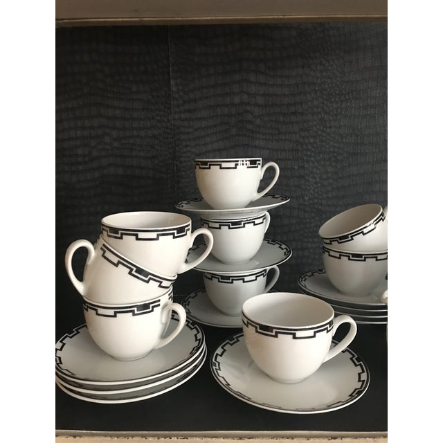 Modern Greek White Black Geometric Sompex Ionia Collection Service of 11 For Sale - Image 11 of 12