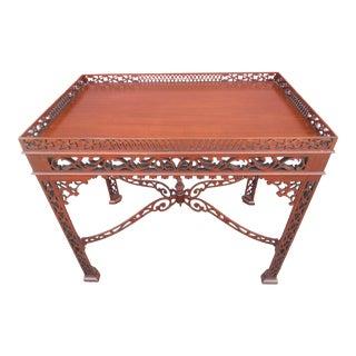 Stunning Baker Furniture Pierced Mahogany Tea Table For Sale