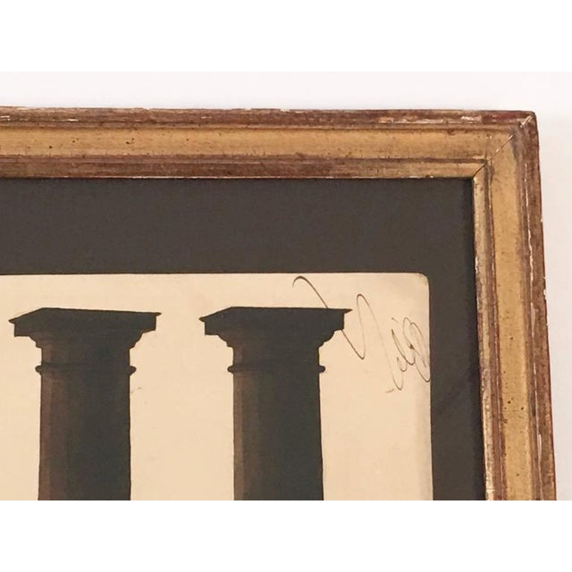 Drawing/Sketching Materials Neoclassical Architectural Watercolor Study of Shadows on Columns For Sale - Image 7 of 8