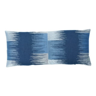 Schumacher Sunburst Stripe Embroidery Lumbar Pillow in Blue For Sale