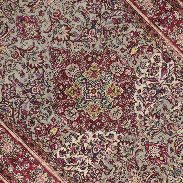 Late 19th-Century Antique Silk Persian Kashan with Jewel-Tone Colors For Sale - Image 4 of 10
