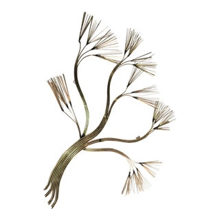 Curtis Jere Brass Pine Tree Wall Hanging Sculpture For Sale