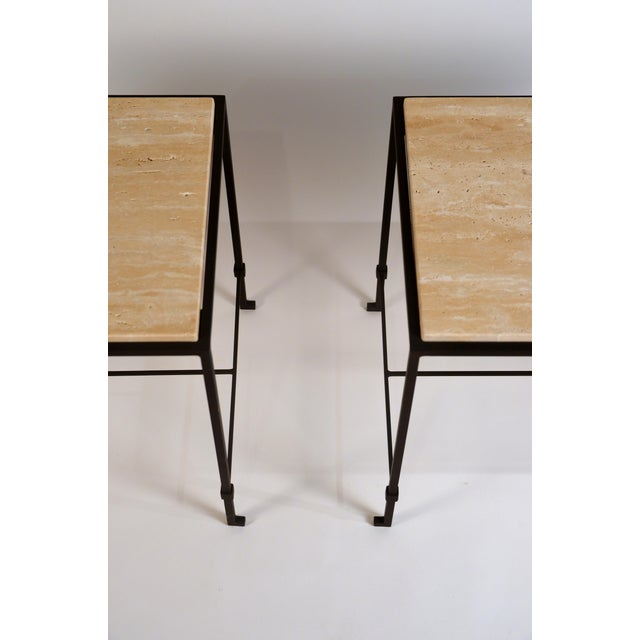 DESIGN FRERES 'Diagramme' Wrought Iron and Travertine Side Tables by Design Frères - a Pair For Sale - Image 4 of 9