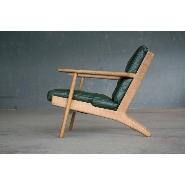 Animal Skin Hans Wegner Highback Lounge Chair Model GE290 for Getama Oak and Green Leather For Sale - Image 7 of 11
