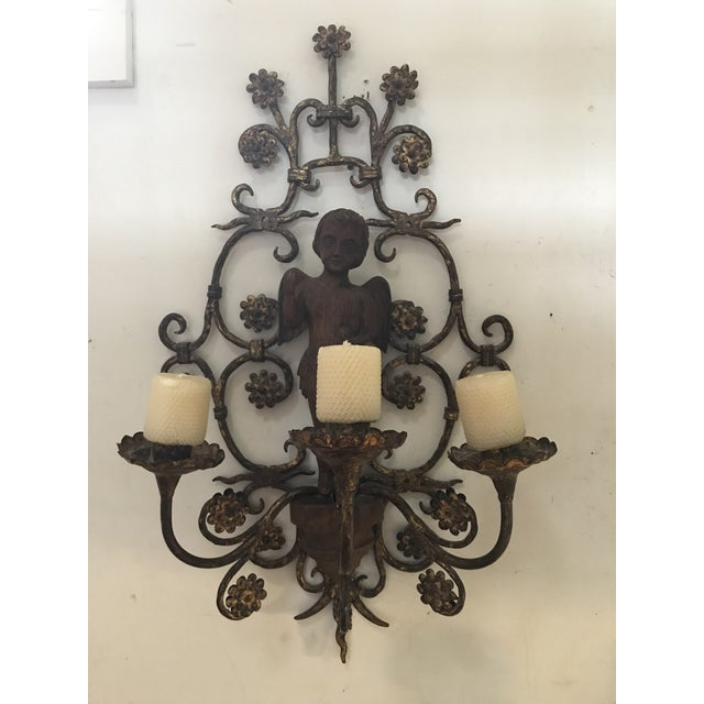 Vintage Rare Italian Iron Sconce, Carved Walnut Cherub For Sale In Chicago - Image 6 of 6