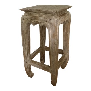 Shabby Chic Hand Carved and Bleached Wood Side Table For Sale