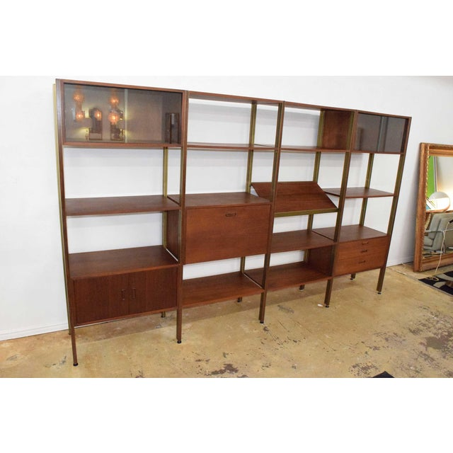 Mid-Century Modern Large Four Bay George Nelson Walnut and Bronze Omni System For Sale - Image 3 of 13