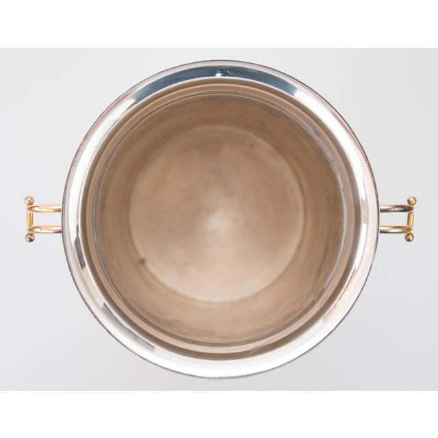 French Art Deco Silver Plate & Brass Champagne Bucket For Sale In Houston - Image 6 of 9