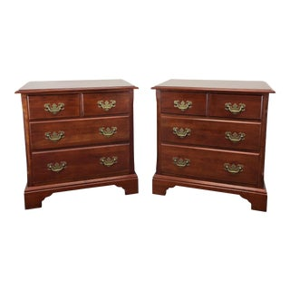 Cresent Solid Cherry Chippendale Nightstands / Bedside Chests For Sale