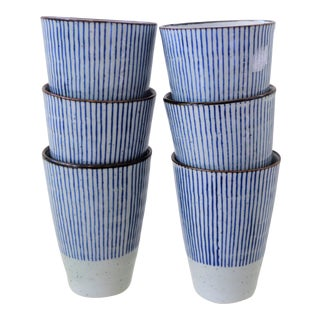Vintage Japanese Ceramic Glasses - Set of 6 Blue and White Lines