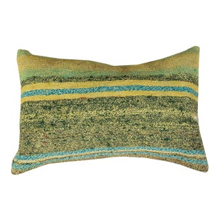 Vintage Designer Wool Green Sofa Pillow For Sale
