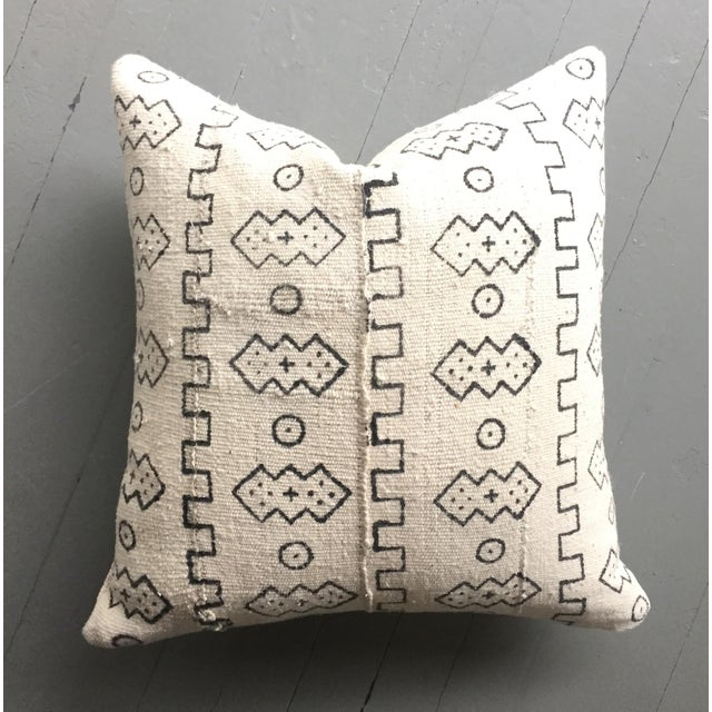 Boho Chic White African Mudcloth Pillow Cover - Image 4 of 10