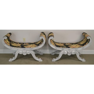 Custom Quality Swedish Rococo Style Pair Painted Cerule Benches Preview