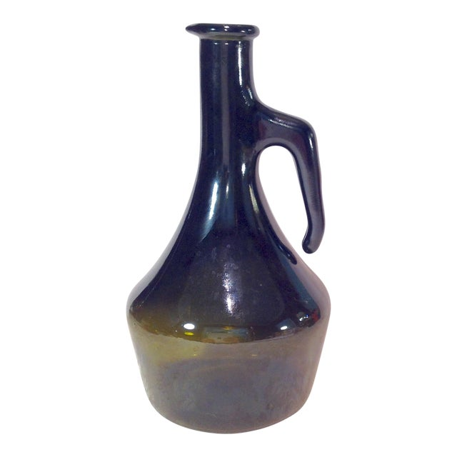 Vintage Italian Dark Green Wine Bottle For Sale