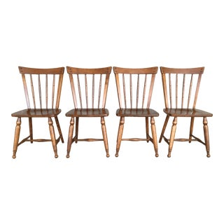 Vintage Mid Century Ethan Allen Heirloom Maple Squire Chairs - Set of 4 For Sale