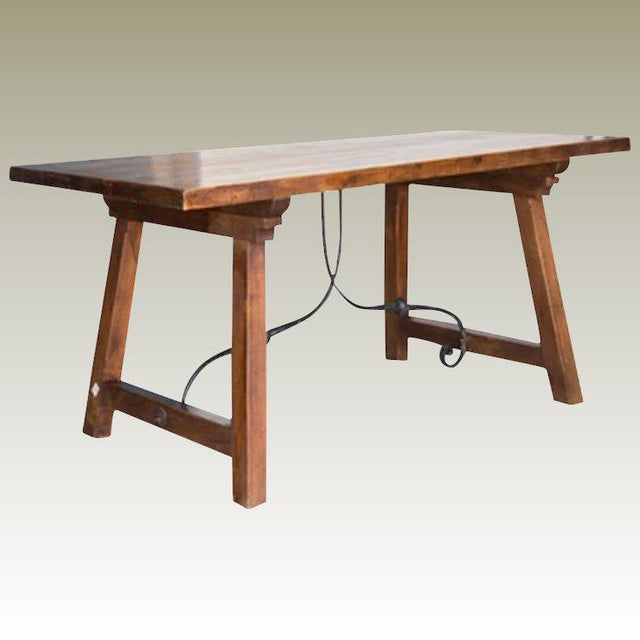 Spanish Beech Farm Table Iron Stretcher 19th C. For Sale - Image 11 of 11