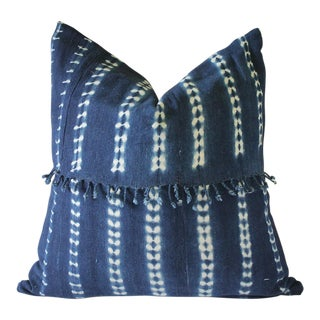Contemporary Indigo Blue Batik Accent Pillows With Fringe For Sale