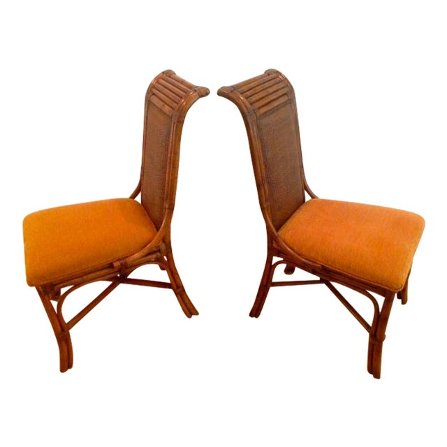 Tommy Bahama Wicker Rattan Upholstered Side Chairs - A Pair - Image 1 of 8
