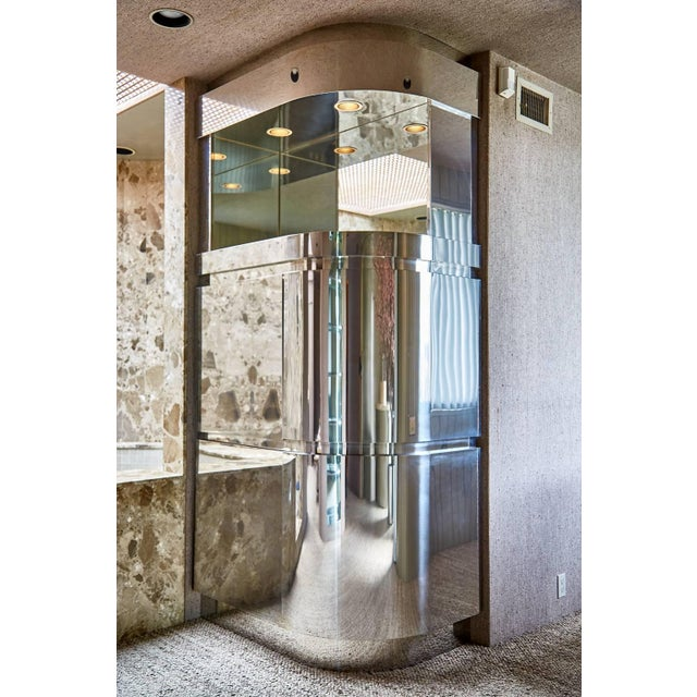 Invest in a piece of design history with this monumental chrome cabinet designed and commissioned by Steve Chase and built...
