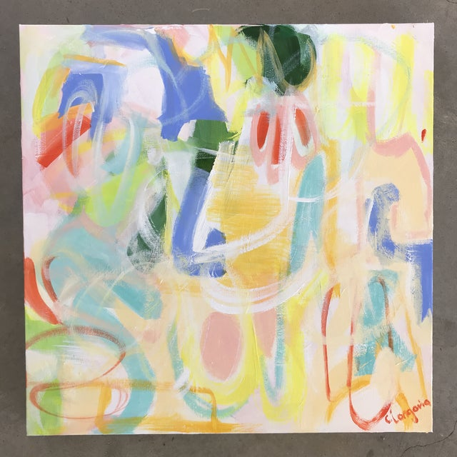 """Abstract Christina Longoria Abstract """"Fiesta 1"""" Painting For Sale - Image 3 of 3"""