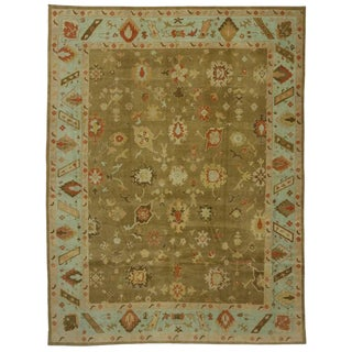 Contemporary Turkish Oushak Rug - 12′4″ × 16′1″ For Sale