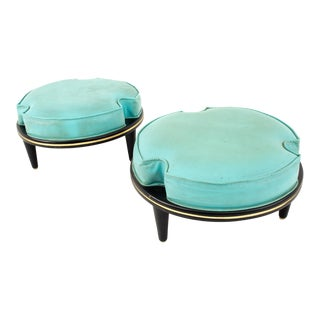 Mid Century Black and Blue Vinyl Stackable Walnut Stool For Sale