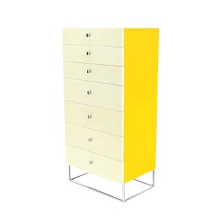 Seven Drawer Tall Yellow and White Lacquer Floating Lingerie Chest For Sale