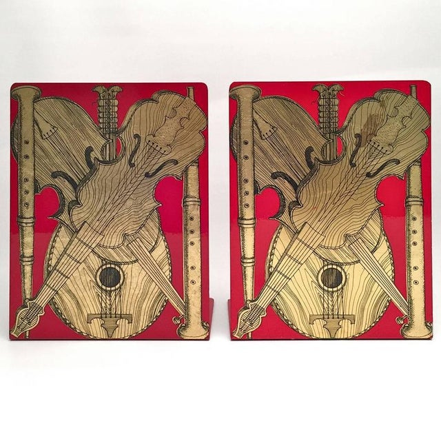 Italian Fornasetti Strumenti Musicali Bookends - A Pair For Sale - Image 3 of 4