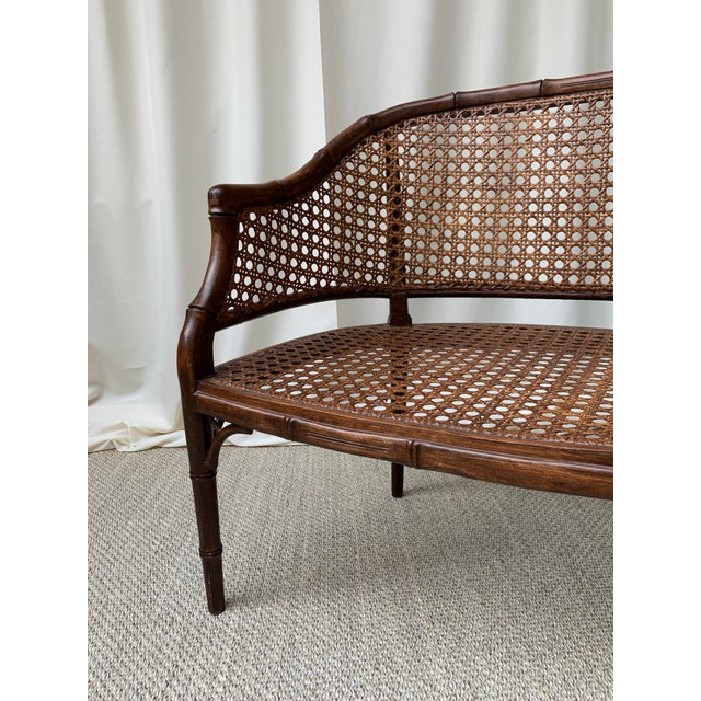 Thomasville Mid 20th Century Hollywood Regency Chippendale Style Faux Bamboo and Cane Settee For Sale - Image 4 of 10