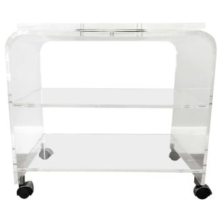 20th Century Italian 2 Tier Acrylic and Metal Waterfall Media Stand For Sale