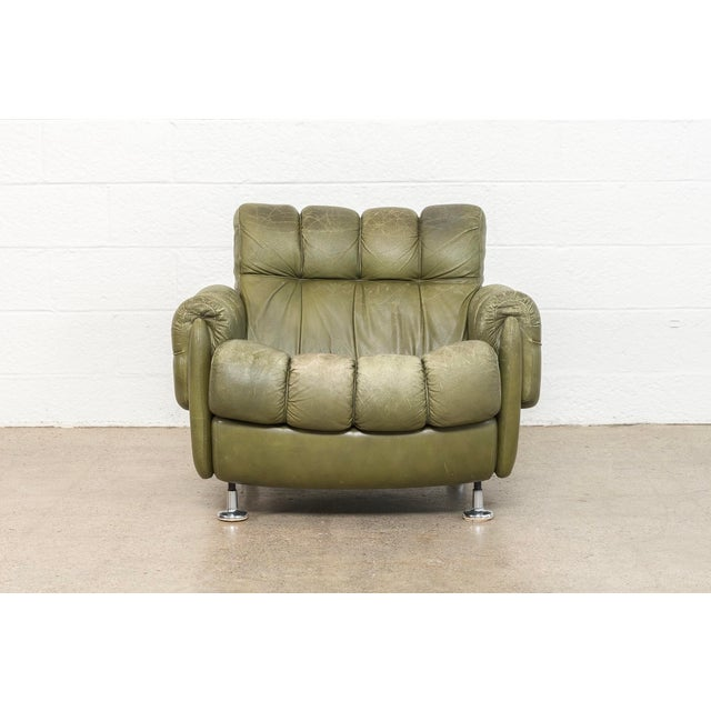 Percival Lafer Vintage Mid Century Green Leather Lounge Chair in the Style of Percival Lafer, 1970s, Matching Sofa Available For Sale - Image 4 of 11